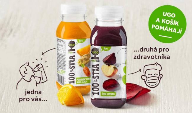 Energie a vitamíny zdravotníkům. Za každou UGO lahvičku koupenou na Košíku dostanou zdravotníci druhou zdarma